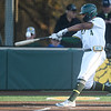 Missouri Southern's Mike Million connects for an rbi double during the Lions game against Central Missouri on Friday night at Warren Turner Field.<br /> Globe | Laurie Sisk