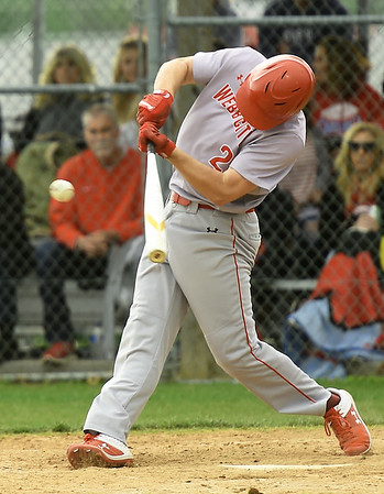 Web City's Cade Beason connects for a single during the Cardinals game against Carl Junction on Tuesday at Carl Junction.<br /> Globe | Laurie Sisk