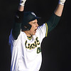 Missouri Southern's Matt Miller celebrates an rbi double during the Lions game against Central Missouri on Friday night at Warren Turner Field.<br /> Globe | Laurie Sisk