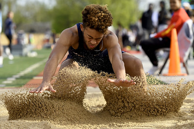 Joplin's Zach Westmoreland competes in the long jump during the Gorilla Relays on Friday at Pittsburg State's Carnie Smith Stadium. Globe | Laurie Sisk