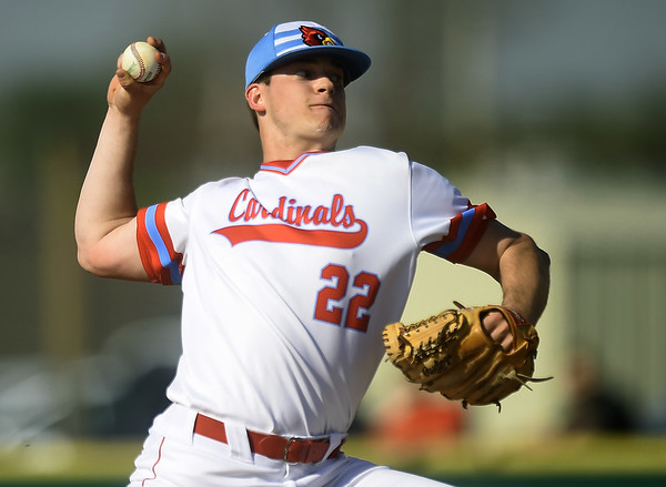 Webb City's Cade Beason delivers a pitch to the plate during the Cardinals game against Joplin on Tuesday at Webb City.<br /> Globe | Laurie Sisk