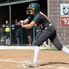 Missouri Southern's Tori Frazier tries to bunt her way onto first base during the Lions game against Southwest Baptist on Wednesday afternoon at Lea Kungle Field.<br /> Globe | Laurie Sisk