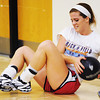 Globe/T. Rob Brown<br /> Carl Junction High School senior Hope Joyner works with a weighted volleyball during practice Wednesday afternoon, Aug. 8, 2012, in the school's gymnasium.