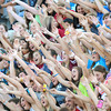 Globe/Roger Nomer<br /> The Joplin High crowd cheer for the Eagles during Friday's jamboree.