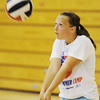 Globe/T. Rob Brown<br /> Carl Junction High School junior Katie Wiele returns a serve during practice Wednesday afternoon, Aug. 8, 2012, in the school's gymnasium.