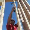 Globe/Roger Nomer<br /> St. Louis Cardinals Manager Mike Matheny helps secure a wall while working on a Habitat for Humanity build at 2428 Joplin in Joplin, Mo., on Aug. 20, 2012.  The Cardinals baseball coaches and staff were in town to participate in the Governor's Cup Challenge, an effort by Habitat for Humanity to replace homes lost in the May 22, 2011, tornado in Joplin.