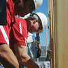 Globe/Roger Nomer<br /> St. Louis Cardinals Manager Mike Matheny and Hitting Coach Mark McGwire hammer a wall into place during a Habitat for Humanity build at 2428 Joplin in Joplin, Mo., on Aug. 20, 2012.  The Cardinals baseball coaches and staff were in town to participate in the Governor's Cup Challenge, an effort by Habitat for Humanity to replace homes lost in the May 22, 2011, tornado in Joplin.