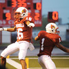 Globe/T. Rob Brown<br /> Webb City runningback Phoenix Johnson (1) and teammate Jalen Vaden (16) celebrate in the end zone after Johnson scored the team's third touchdown against Har-Ber during Friday night's game, Aug. 31, 2012, at Webb City's field.