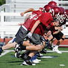 Globe/Roger Nomer<br /> Joplin High football players run sprints during practice on Monday afternoon.