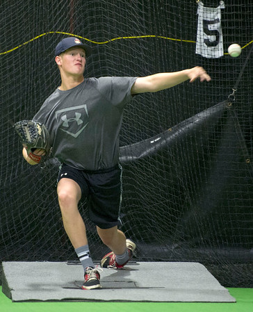 Webb City's Tyler Martin throws a final bull pen session on Saturday at PlayMakers before he departs to San Diego to throw for major league scouts.<br /> Globe | Laurie Sisk