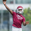 xx xx runs through drills with the quarterbacks during the first practice of the season on Monday at Joplin High School.<br /> Globe | Laurie Sisk