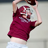 Isaac Meeks works out with the receivers during the first practice of the season on Monday at Joplin High School.<br /> Globe | Laurie Sisk