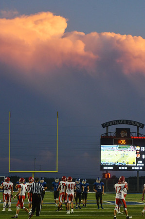 Globe/Roger Nomer<br /> The Carthage Tigers play their first game at the new David Haffner Stadium against Ozark on Friday.