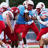 Globe|Israel Perez<br /> Webb City's Terrell Kabala fights his way through the defensive line of Carl Junction during the season opener game on Friday night at Cardinal Stadium in Webb City.