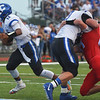 Globe/Roger Nomer<br /> Carthage's Bobby Kendrick runs off a block to score against Webb City on Friday in Webb City.