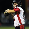 Lamar quarterback Stuart McKarus warms up before the Tigers' season opener at Cassville.<br /> Globe | Laurie Sisk