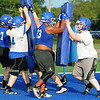 Miami linemen run through drills during practice at Northeastern Oklahoma A&M on Wednesday night .<br /> Globe | Laurie Sisk