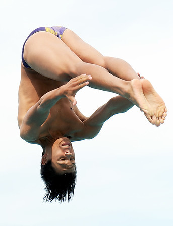Monett diver Benji Lesue competes in the diving portion of the JAC Invite on Thursday afternoon at Schifferdecker Pool.<br /> Globe | Laurie Sisk
