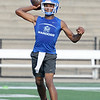 Miami quarterback Jay Porter runs passing drills during practice at Northeastern Oklahoma A&M on Wednesday night.<br /> Globe | Laurie Sisk