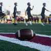 Joplin football players run through a warm up during their first day of practice on Monday at Joplin High School.<br /> Globe | Roger Nomer
