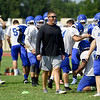 Miami Head Coach Zach Gardner leads a spirited practice on Saturday morning at MHS.<br /> Globe   Laurie Sisk