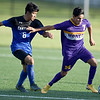 Monett's Loger Rodriguez (7) tries to fend off Carthage's Walter Mejia Contreras (6) during their scrimmage at the Joplin Jamboree on Tuesday night at Joplin High School.<br /> Globe | Laurie Sisk