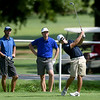 From the left: Springfield's Nic Goodin and Chris Andrews watch as Joplin's John Tucker drives off the no. 3 tee during their Horton Smith Cup matchup on Saturday at the Carthage Golf Course.<br /> Globe | Laurie Sisk