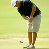 Joplin's Corey Jones watches his putt roll toward the cup during his Horton Smith Cup matchup on Saturday at the Carthage Golf Course.<br /> Globe | Laurie Sisk