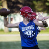 Columbus High School's Patrick Cassidy runs through a drill during practice at Columbus.<br /> Globe | Roger Nomer
