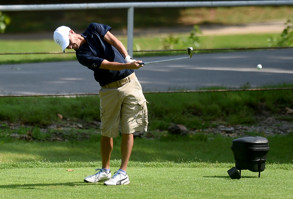 Joplin's Shawn Delmez drives off the no. 3 tee during his Horton Smith Cup matchup on Saturday at the Carthage Golf Course.<br /> Globe | Laurie Sisk