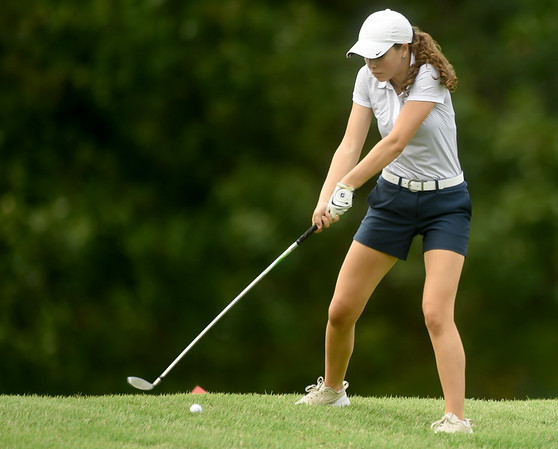 Joplin's Julia Iorio tees off on the no. 5 on Wednesday at the Carthage Golf Course.<br /> Globe | Laurie Sisk