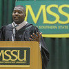Globe/Roger Nomer<br /> Rod Smith addresses Missouri Southern graduates during Saturday's commencement.
