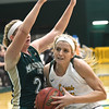Missouri Southern's Chelsey Henry (15) battles past Missouri S&T's Janie Arand (24) during their game on Tuesday night at Leggett & Platt.<br /> Globe | Laurie Sisk