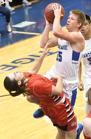 Carthage's Chase Johnson (15) draws a foul on West Plains' garel McGinley during their consolation semifinal game in the Carthage Invitational on Friday night at Carthage.<br /> Globe | Laurie SIsk