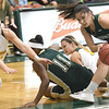 Missouri S&T's Jordan Kabetske, right, picks up a loose ball as Missouri Southern's Desirea Buerge, left, closes in during their game on Tuesday night at Leggett & Platt. Also pictured are S&T's Bria Pierce (11) and MSSU's Dru Clark (1).<br /> Globe | Laurie Sisk