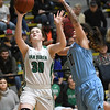 Van Buren's Olivia Schnakenberg (30) puts up a shot as Har Ber's Savanna Collins (10) defends during their championship game of the Neosho Holiday Classic on Saturday night at Neosho High School.<br /> Globe | Laurie Sisk
