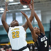 Missouri Southern's Chasidee Owens (22) battles Illinois-Springfield's Tenya Fortun (3) for a rebound during their game on Wednesday afternoon at Leggett & Platt.<br /> Globe | Laurie Sisk