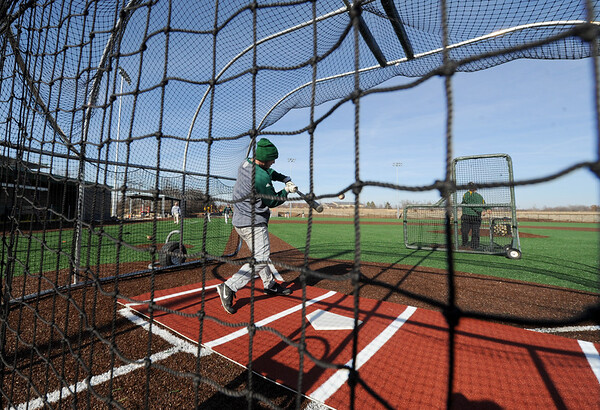 Missouri Southern players take to the batting cages for hitting on their new field last Tuesday at MSSU.<br /> Globe | Laurie Sisk