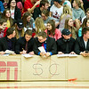 Carl Junction students amalyze game action from their mock SportCenter studio on Thursday night during the Joplin - Carl Junction basketball game at CJHS.<br /> Globe | Laurie Sisk