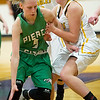 Pierce City's Belle Golubski (5) works to get past Purdy's Rion Boyd (14) during their Class 2 District 12 final on Friday night at Sarcoxie High School.<br /> Globe | Laurie Sisk