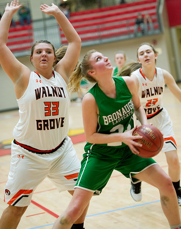 Bronaugh's Katey Rider (24) gets by Walnut Grove's Raylie Hejna (33) during their Missouri Class 1 Sectional on Tuesday night at Webb City High School.<br /> Globe | Laurie Sisk