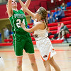Bronaugh's Katey Rider (24) shoots over Walnut Grove's Taylor Dodson (44) during their Missouri Class 1 Sectional on Tuesday night at Webb City High School.<br /> Globe | Laurie Sisk