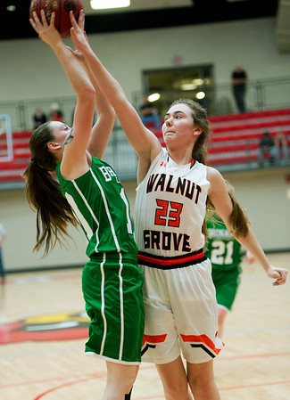Walnut Grove's Kylee Verbeck (23) tries to block a shot by Bronaugh's Becca Raper (10) during their Missouri Class 1 Sectional on Tuesday night at Webb City High School.<br /> Globe | Laurie Sisk