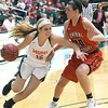 Missouri Southern's Chelsey Henry (15) fights to get past Central Missouri's Megan Skaggs (20) during their game on Saturday at Leggett & Platt.<br /> Globe | Laurie SIsk