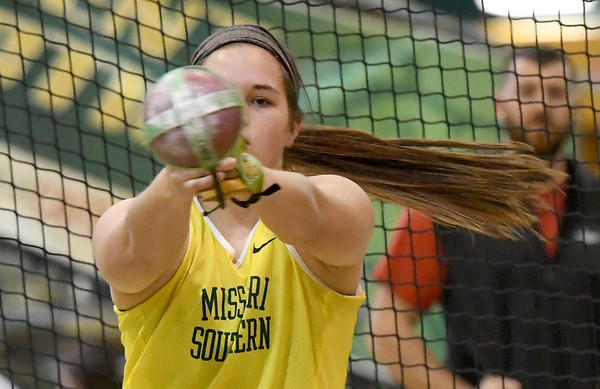 Missouri Southern's Katie Skelton competes in the women's weight throw on Friday at Leggett & Platt. Skelton finished fifth in the event.<br /> Globe | Laurie Sisk