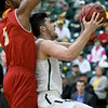 Missouri Southern's Vince Fritz (25) drives to the basket as Pittsburg State's Demetrius Levarity (5) defends during their game on Tuesday night at Leggett & Platt.<br /> Globe | Laurie SIsk