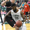 Missouri Southern's LJ Ross (10) gets past Central Missouri's Jakob Lowrance (50) for a score during their game on Saturday at Leggett & Platt.<br /> Globe | Laurie SIsk