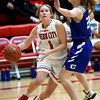 Webb City's Peyton Hawkins (1) drives to the basket as Carthage's Landry Cochran (23) defends during their game on Tuesday night at the Cardinal Dome.<br /> Globe | Laurie Sisk