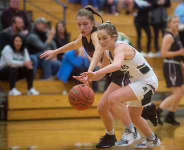 Mt. Vernon's Lacy Stokes battles with Nevada's Alison Bower for a loose ball during Monday's game in Mt. Vernon. Globe | Roger Nomer