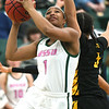 Missouri Southern's Destiny Cozart (1) gets past Missouri Western's Katrina Roenfeldt (5) for a score during their game on Saturday at Leggett & Platt.<br /> Globe | Laurie Sisk